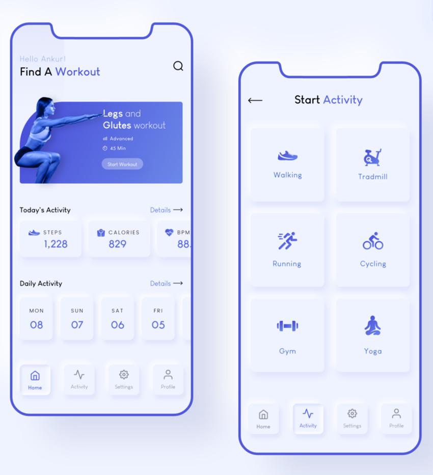 modern fitness app adobe xd