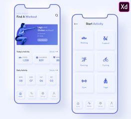 modern fitness app purple clean neumorphic acdobe xd