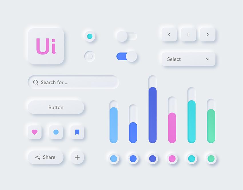 Neumorphism Figma Kit buttons chart fields