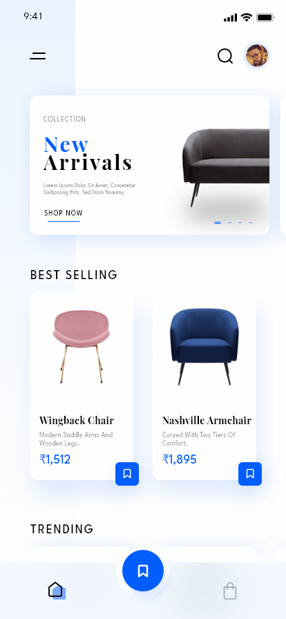 furniture e-commerce app adobe xd