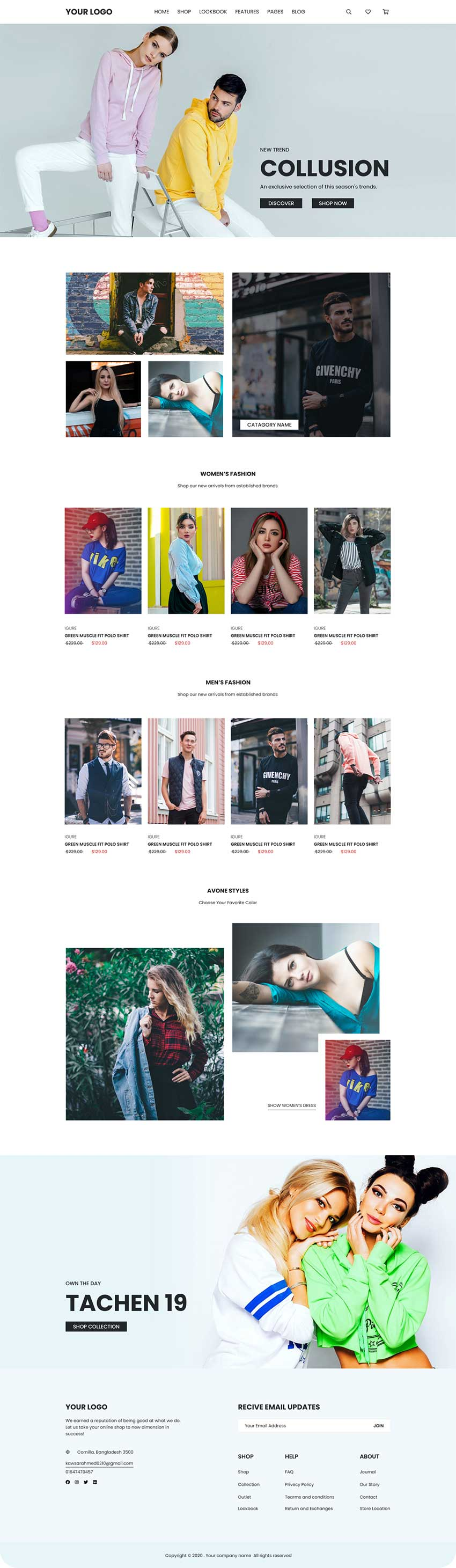 Fashion site web template figma PSD adobexd
