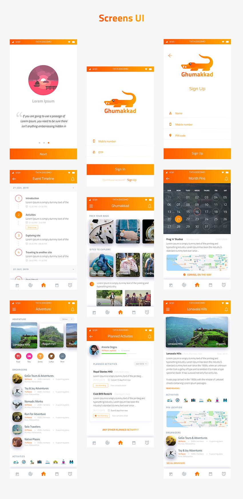 travell app ui kit psd free