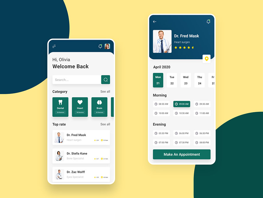 Doctor Appointment App adobexd freebie