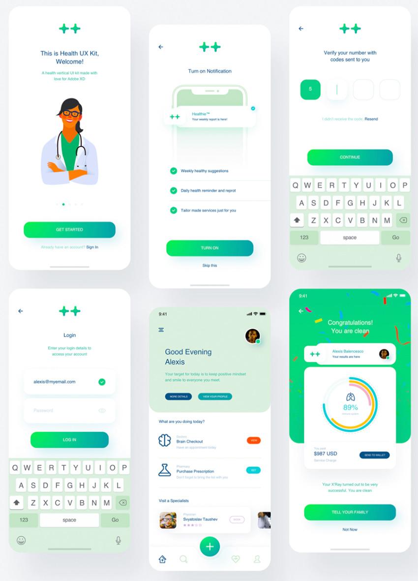 Healthy Industry UI Kit adobe xd