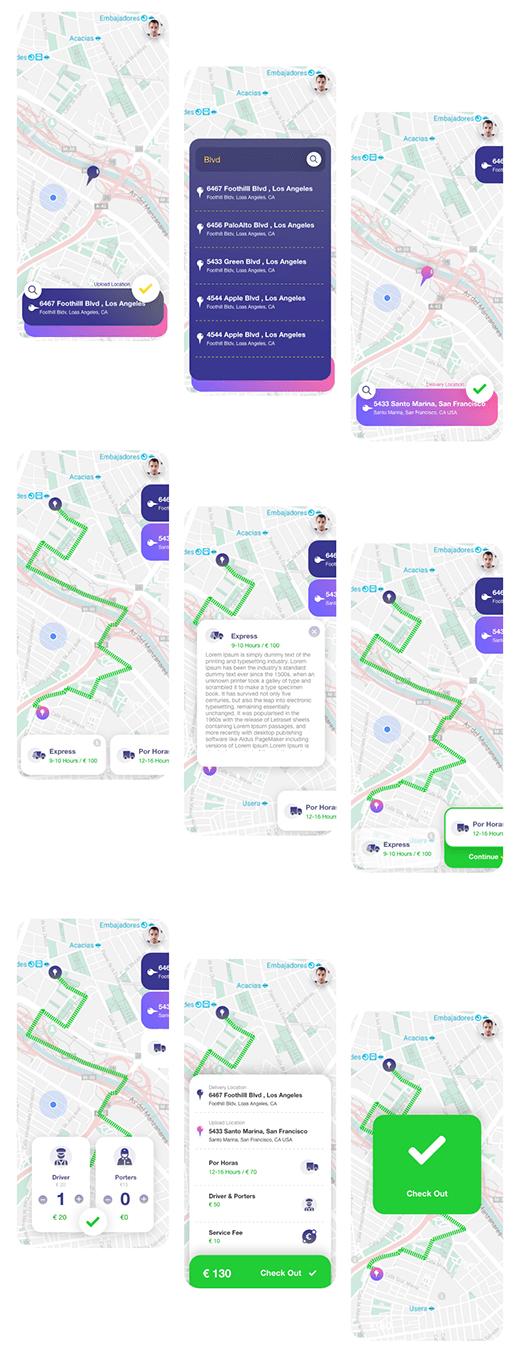 Delivery Truck App adobe xd
