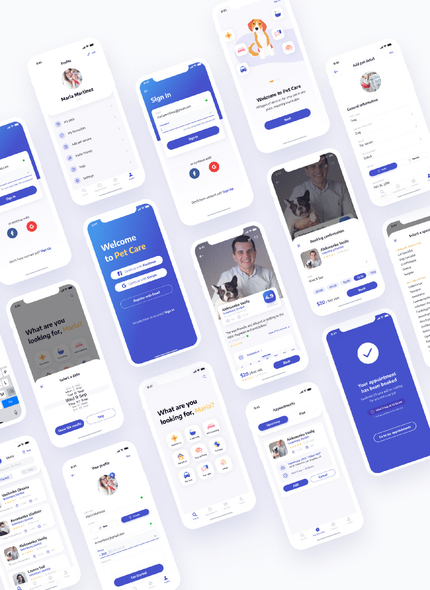 Pet Care Mobile App UI/UX figma