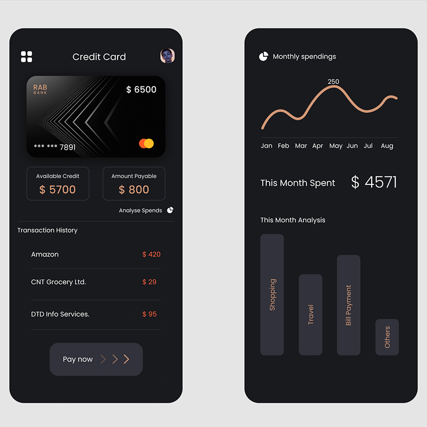 Credit Card Spendings app sketch figma adobexd free download