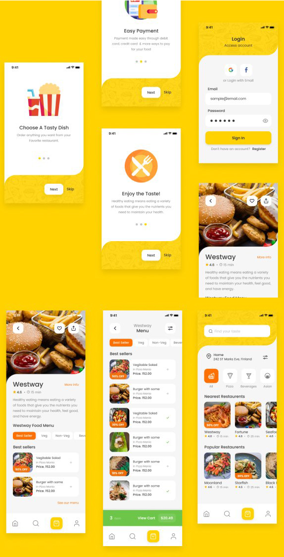 FREE Food Delivery UI Kit figma free download