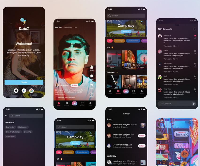 Social Media Video App UI figma free download