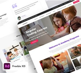 academy landing ui kit adobexd free download