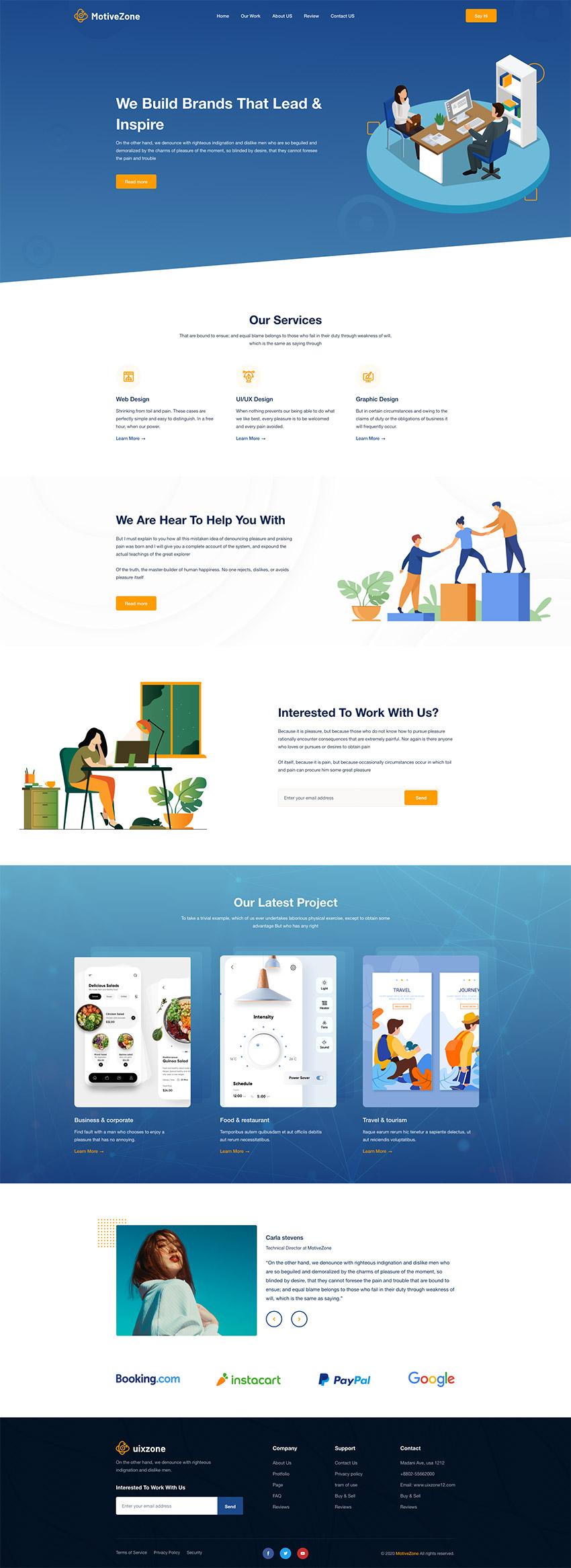 Agency Landing Page Design adobe xd free download