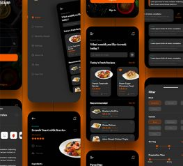 Cooking App Dark Design adobe xd free download