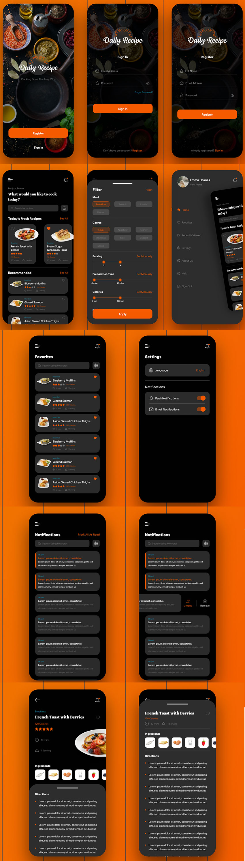 Cooking App - Dark Mode adobexd free download