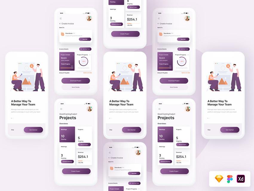 Team Project UI Screens figma sketch free