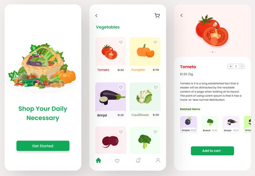 Grocery Shop App Design FIGMA FREE DOWNLOAD