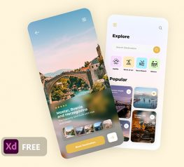 Minimal Travel App Design adobexd free download