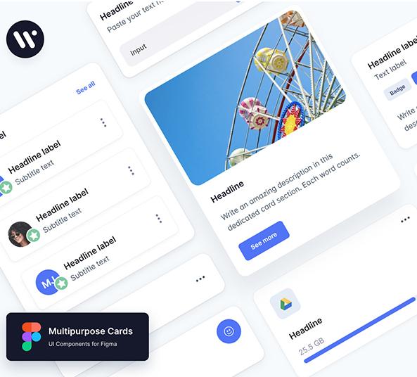 Multipurpose Cards UI Kit figma free download