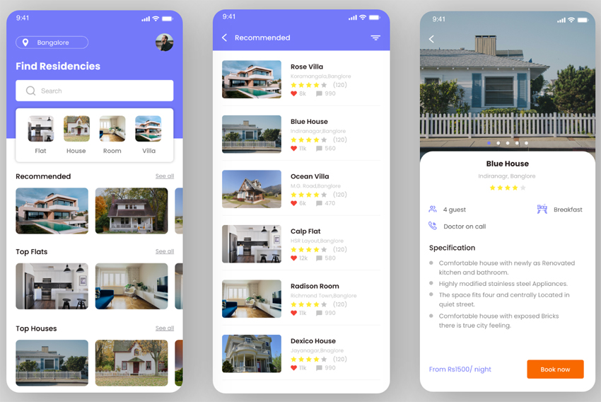 Residence Booking App adobexd free download
