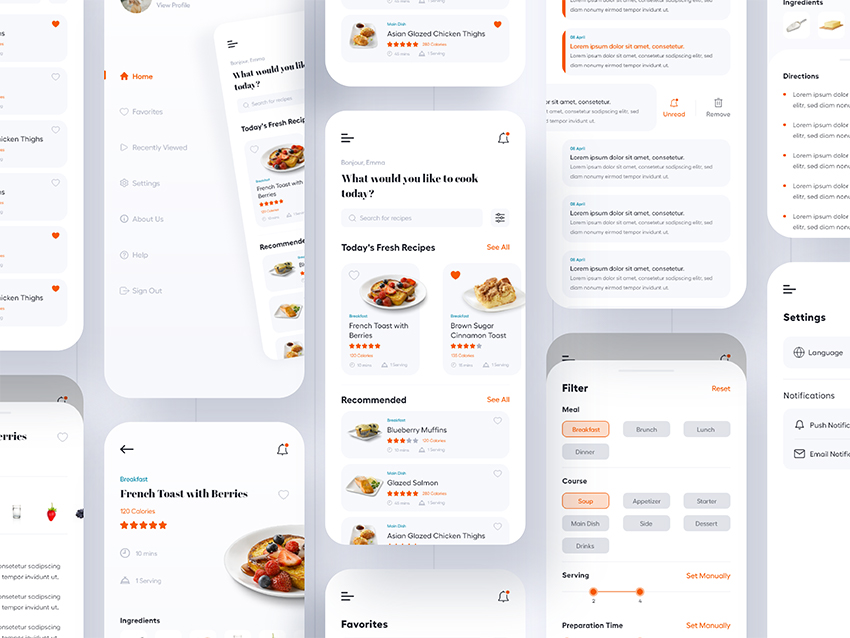 Simple Cooking App Design adobe xd free download
