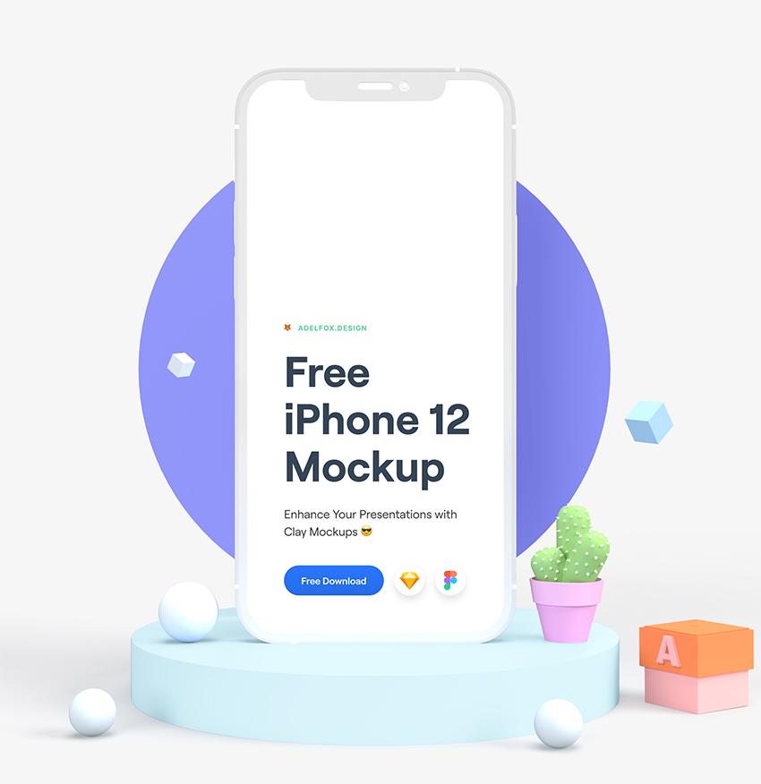 iPhone 12 3D Look Mockup figma sketch free download