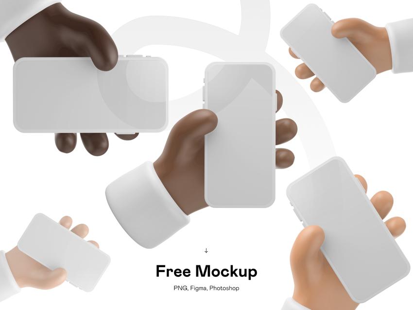 Cartoon 3D iPhone Mockup FIGMA PSD FREE DOWNLOAD