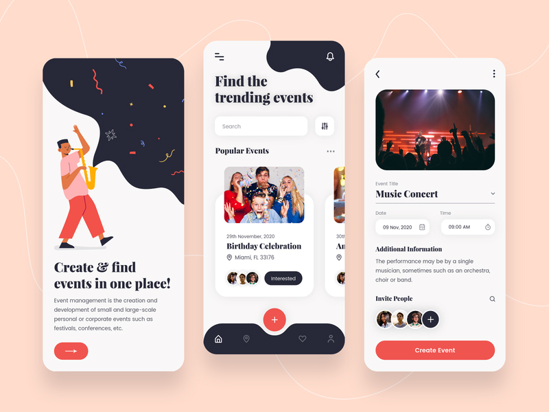 Event Management App Design photoshop free download psd