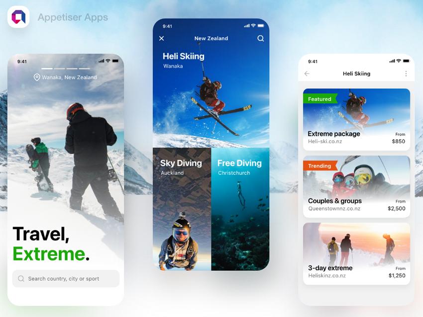 Extreme Travel App Design adobexd free download