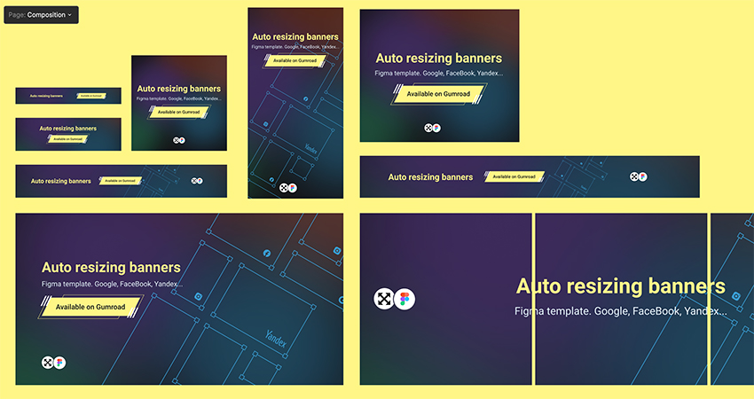 Auto Resizing Banners UI Kit figma free download