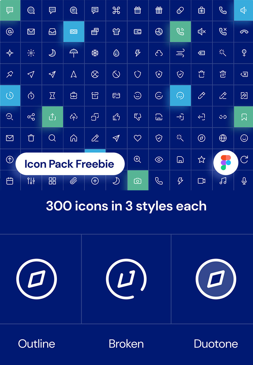 300 Unique Icons Pack figma and free vector