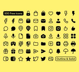 500 Outline and Solid Icons free download