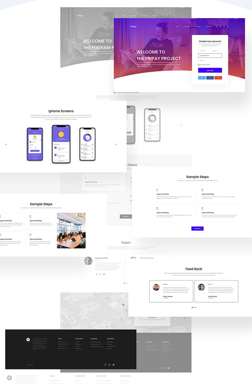 FREE Flat Web Design KIT adobe xd