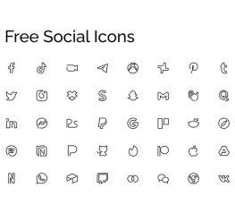 Free Minimal Social Icons figma, adobe xd