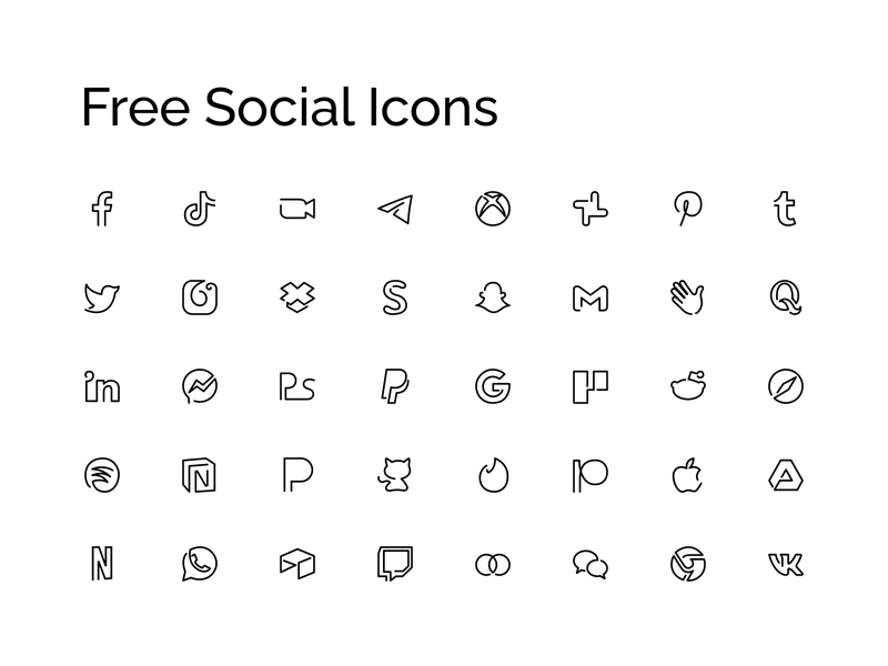 Free Minimal Social Icons figma adobexd