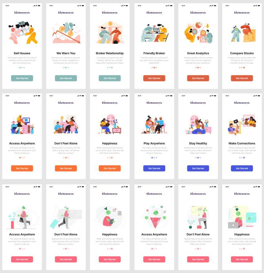 On Boarding App Design figma free download