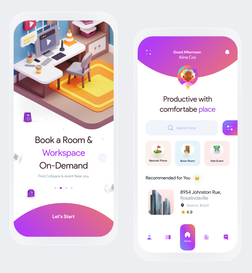 CoSpace Booking App figma free download