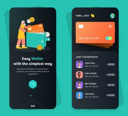 Flat Design Wallet App sketch
