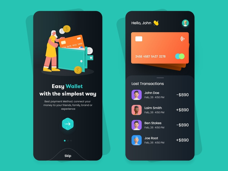 Flat Design Wallet App sketch free download