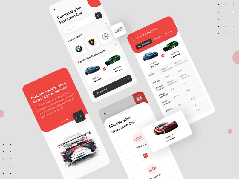 Car Comparison App Design psd free download