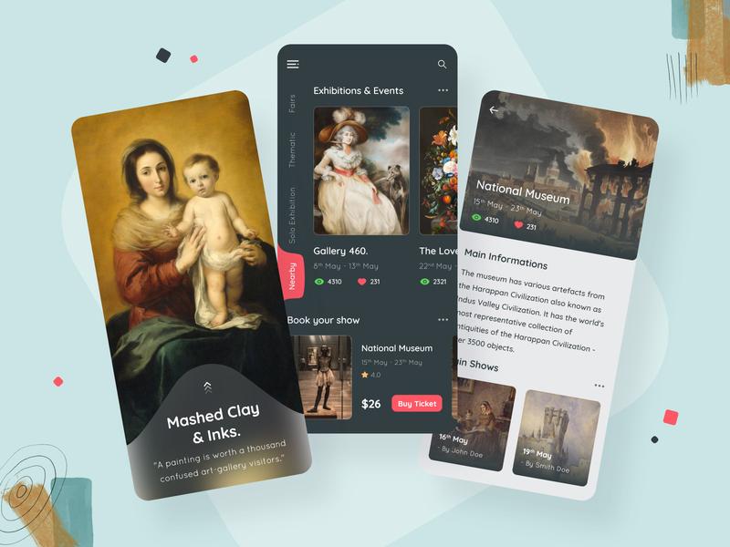 Exhibition App Design for  Adobe XD
