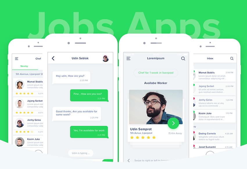 Find A Job App UI photoshop screens
