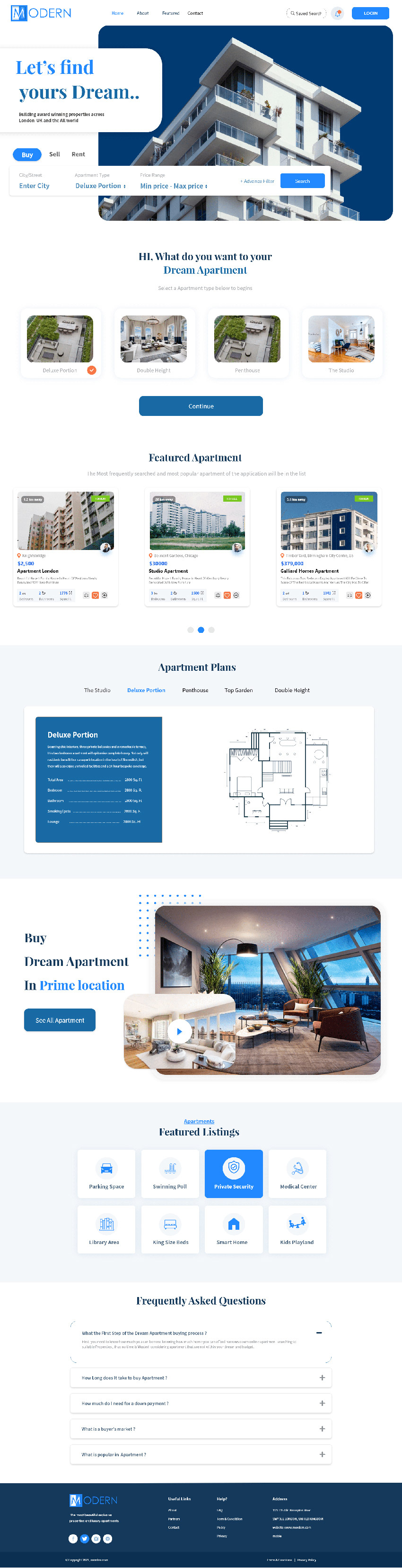Real Estate Webpage UI adobexd free download