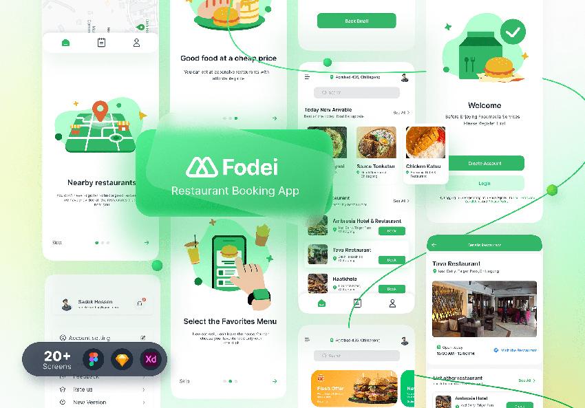 20+ Screens Booking App figma sketch adobexd