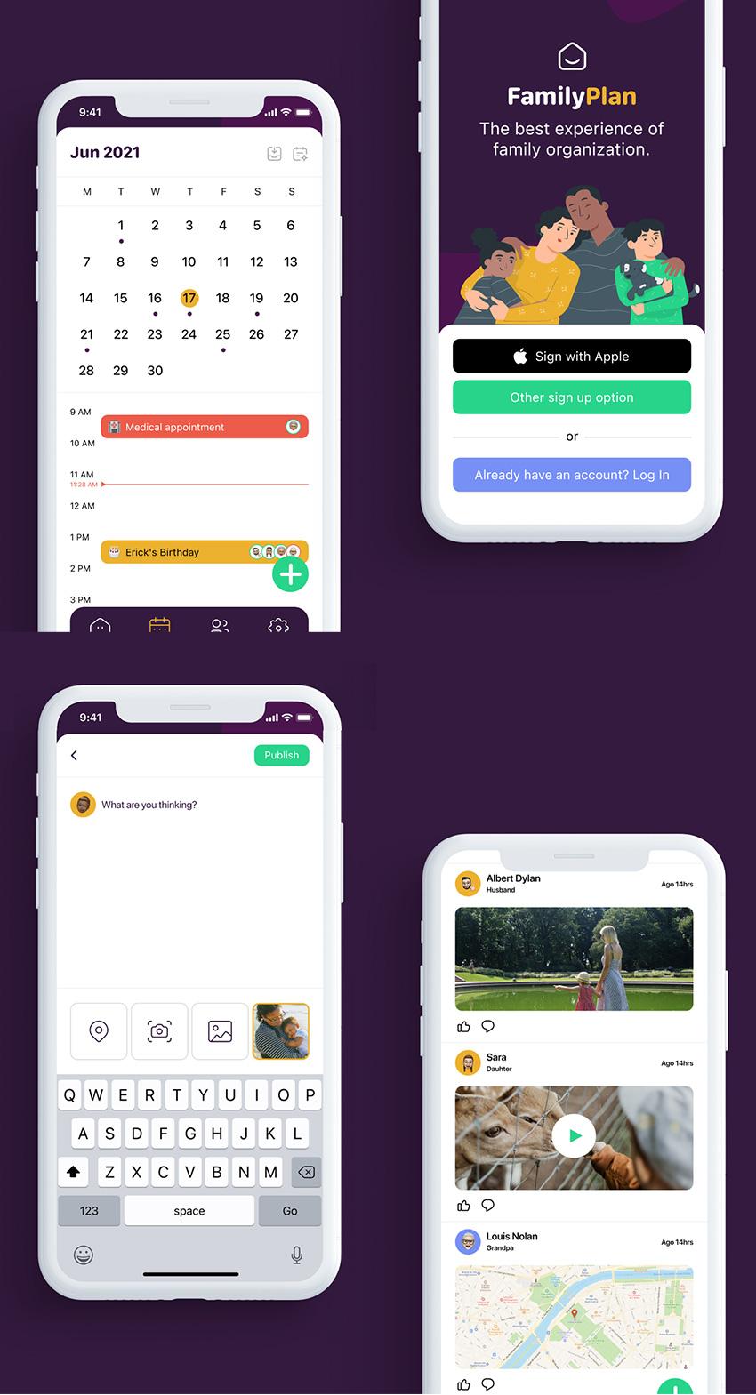 Family Sharing App ui kit figma free