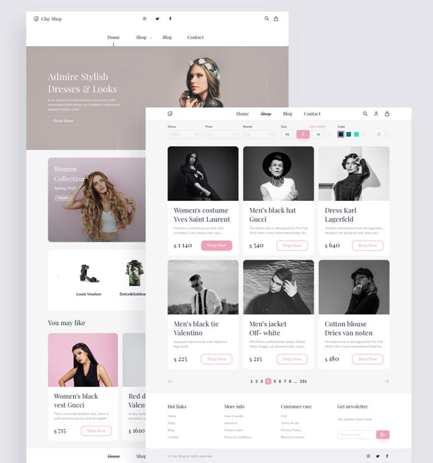 Fashion eCommerce UI Kit sketch free download