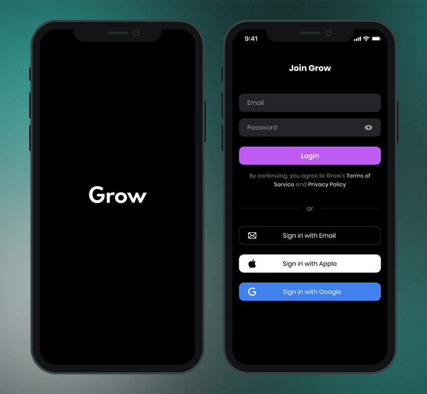Grow Login Screen UI figma free download