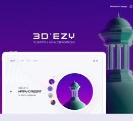 3D Artist Portfolio UI Kit adobe xd