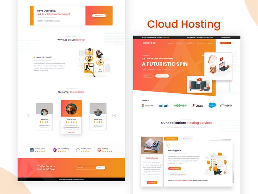 Cloud Hosting WebDesign adobexd free