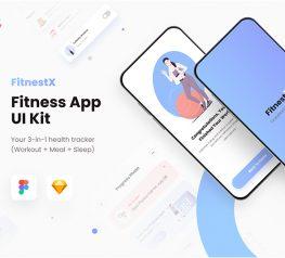 FitnessX App UI Kit sketch figmsa free download