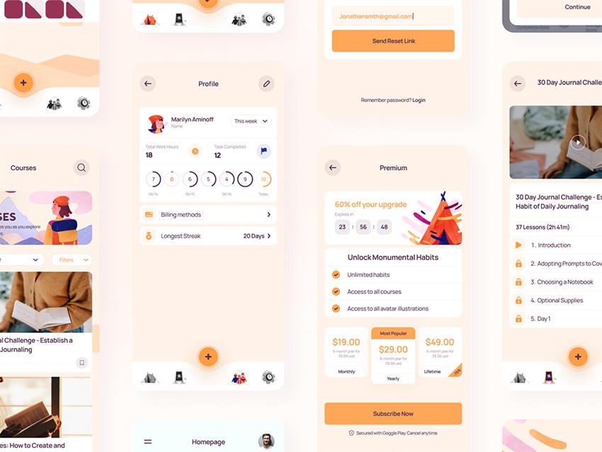 Habit-Tracking App Design figma adobexd sketch