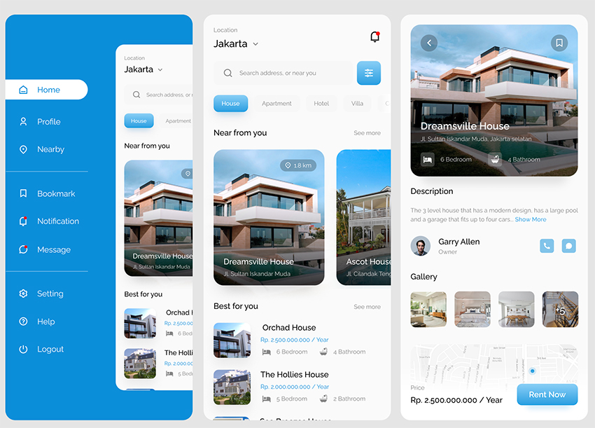 Home Rent App UI Design figma free